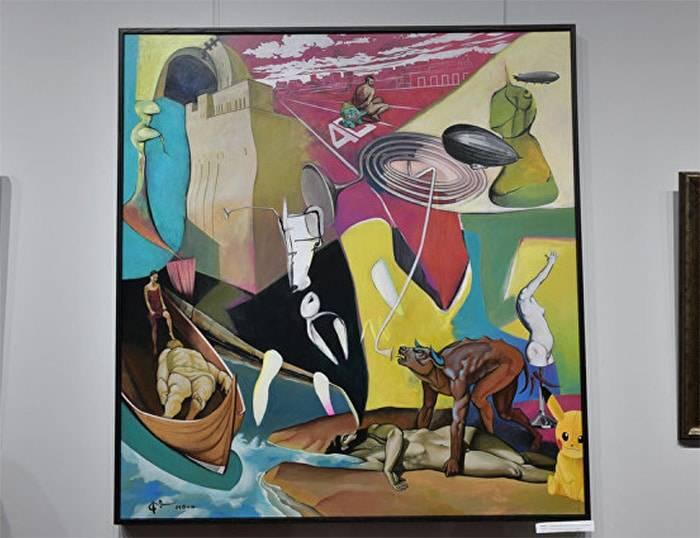 Работа художника Ампар Адгур Экзистенциальный окрас желтого покемона.